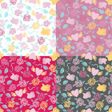 Four Valentine seamless patterns Stock Photo