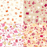 Four Valentine seamless patterns Stock Image
