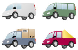 Four vans with cargo Royalty Free Stock Image