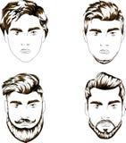 Four variants of hair-dress Stock Image