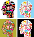 Four variants of human head with animal icons Stock Photo