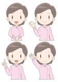 Caregiver woman expression set vector illustration