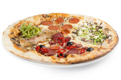 Four varieties of pizza. In one big one. Toppings such as salami, mushrooms, bacon, peppers, olives, chicken and onions Stock Images