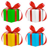 Four various color silver gift wrapped presents Stock Image