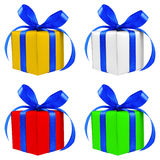 Four various color silver gift wrapped presents Royalty Free Stock Photo