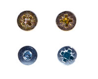 Four various screws and bolts Royalty Free Stock Image