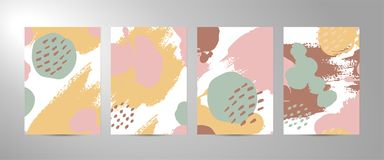 Four vector abstract Brush strokes backgrounds vector illustration