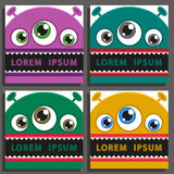 Four vector backgrounds set with comic monsters. Royalty Free Stock Photo