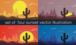 Four vector desert sunset illustration vector illustration