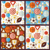 Four Vector Flat Competition Sport Recreation Patterns Set. Sports and Activities Flat Design Vector Illustration. Background. Set of Team Games First place Stock Photo