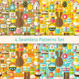 Four Vector Flat Happy Easter Seamless Patterns Set Stock Photos