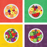 Four vector flat illustrations of salads and fruit meals on plate Royalty Free Stock Photos