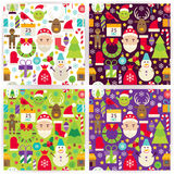 Four Vector Flat Merry Christmas Patterns Set Royalty Free Stock Images