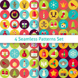 Four Vector Flat Merry Christmas Seamless Patterns Set  Royalty Free Stock Photography