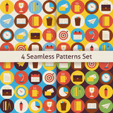 Four Vector Flat Seamless Business and Office Patterns Set with. Business and Office Patterns Set with Colorful Circles. Flat Style Vector 4 Seamless Texture Stock Photography