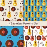 Four Vector Flat Seamless Music Instrument Guitar Musical Note V Stock Photography