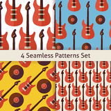 Four Vector Flat Seamless Music Instrument Rock Guitar Patterns Stock Images