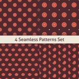 Four Vector Flat Seamless Music Vinyl Disc Patterns Set Stock Photography