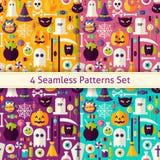 Four Vector Flat Seamless Scary Halloween Patterns Set Stock Photos