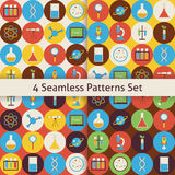 Four Vector Flat Seamless  Science and Education Patterns Set wi Stock Photography