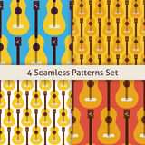 Four Vector Flat Seamless String Music Instrument Guitar Pattern Stock Photo