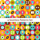 Four Vector Flat Sport Recreation and Fitness Seamless Patterns Stock Image