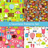 Four Vector Flat Summer Holidays and Travel Vacation Patterns Se Stock Image