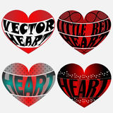 Four Vector Hearts. Created in Adobe Illustrator Royalty Free Stock Photo