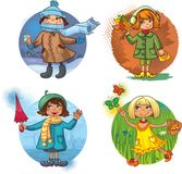 Four vector illustration - little girls and season Stock Image
