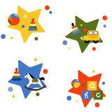 Four vector illustrations with children`s toys. Royalty Free Stock Photo