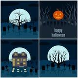 Four vector illustrations for Halloween. Collection of four vector illustrations for Halloween Stock Photos