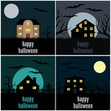 Four vector illustrations for Halloween. Collection of four vector illustrations for Halloween Stock Photography