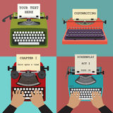 Four vector illustrations of retro typewriters. Co Stock Photography