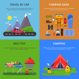 Four vector illustrations set of outdoor activities. Summer camping, climbing, hiking and road travel Royalty Free Stock Images
