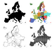 Four Vector maps of Europe Stock Photo