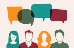 Four vector people. Four people. Men and women avatar profile picture set. Businessman, coworkers, team, think, Question. Idea, Brainstorm Business concept vector illustration