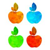 Four vector polygonal apple red blue orange and yellow.  Stock Images