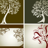Four Vector samples of design with decorative tree Royalty Free Stock Photos