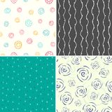 Four vector seamless patterns Stock Photo