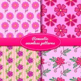 Four vector seamless romantic patterns. With flowers Stock Photos