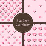 Four vector simple heart donuts seamless patterns Stock Photo
