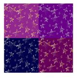Four vector sky with stars patterns. Set of four vector seamless patterns of hand-drawn golden and silver stars on the dark background Stock Illustration