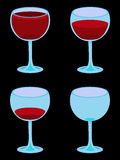 Four Vector Wineglasses on Black. Vector illustration of four glasses of wine from full to empty Stock Photos