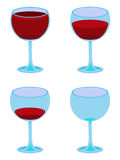 Four Vector Wineglasses on White. Vector illustration of four glasses of wine from full to empty Stock Photos