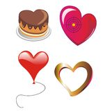 Four vectorial hearts  as a cake, marble, target a Stock Images
