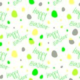 Happy Easter - Set of 4 seamless vector background patterns. Green yellow on white. Royalty Free Stock Photos