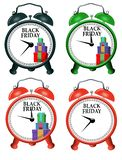 Four versions of an alarm clock to alert you to the beginning of Black Friday shopping is seen here. This is an illustration royalty free illustration