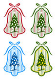 Four versions of christmas bell. Illustrated four versions of christmas bell with Christmas tree decor on white background Stock Photography