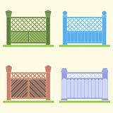 Four versions of a fence, vector. Four versions of a fence of planks, painted in different colors. Vector image Royalty Free Stock Photography