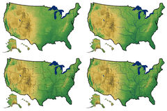 Four Versions Of Physical Map Of United States Stock Photography